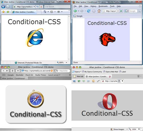Conditional-CSS demo page rendered